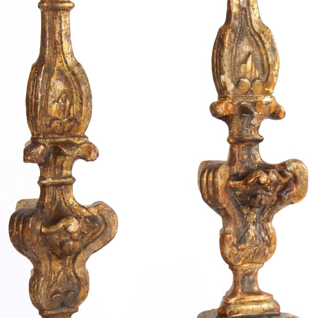 Metal 18th Century Italian Altar Candlesticks-a Pair For Sale - Image 7 of 9