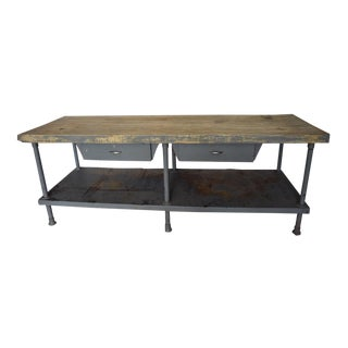 Industrial Maple Top Work Table/Butcher Block For Sale