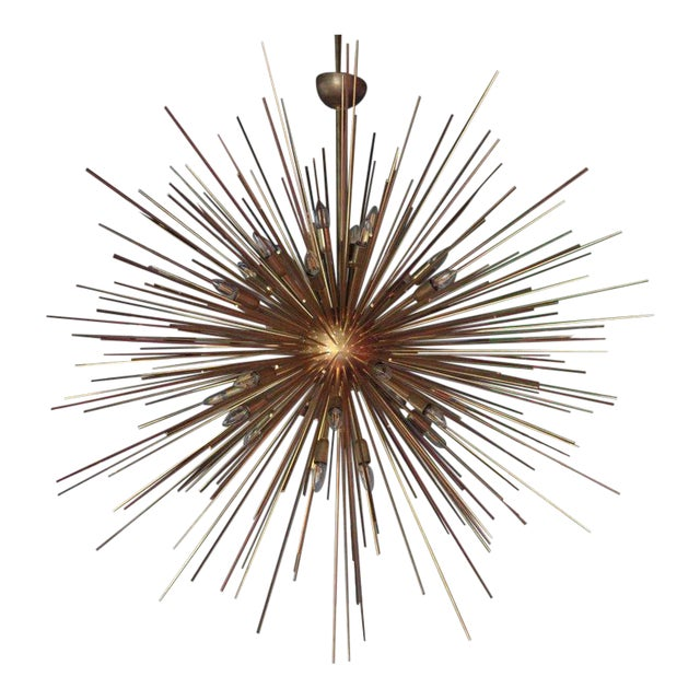 Monumental Brass Sputnik or Urchin Chandelier For Sale