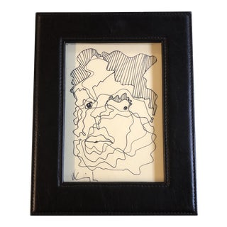 Original Vintage Wayne Cunningham Small Abstract Ink Drawing Leather Photo Frame For Sale
