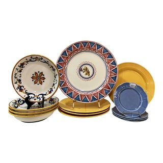 Mismatched Italian Ceramic Pasta Dishes - Set of 13