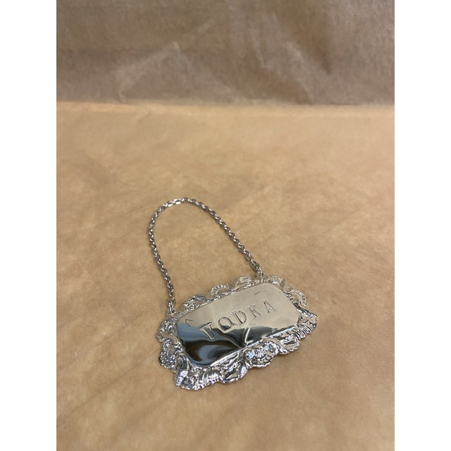 1940s Vintage Silverplate Vodka Decanter Tag For Sale - Image 5 of 5