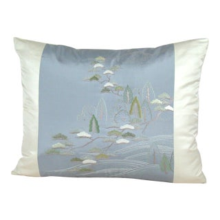 Hand-Embroidered Japanese Countryside Uchikake Kimono Pillow Cover For Sale
