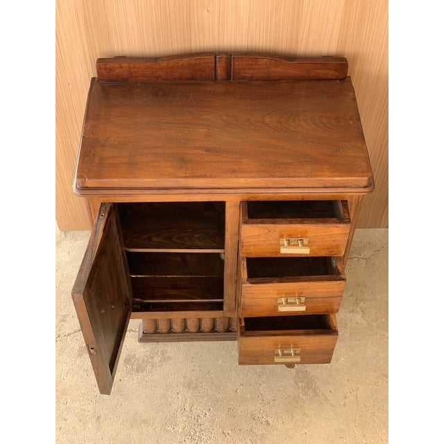 1940s Pair of Spanish Art Deco Heavily Hand Carved Bedside Tables Nightstands, 1920s For Sale - Image 5 of 13