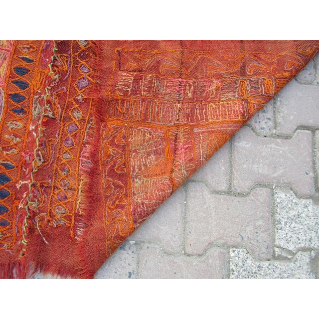 1960s 1960s Traditional Orange Wool Iraq Kilim Rug For Sale - Image 5 of 6
