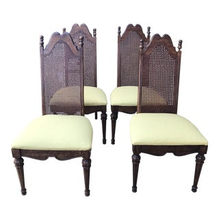 Mid-Century Cane Back & Yellow Upholstered Dining Chairs - Set of 4