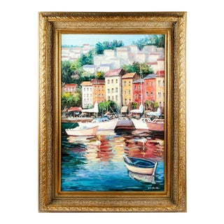 Gilded Wood Frame Oil on Canvas Decorative Painting For Sale