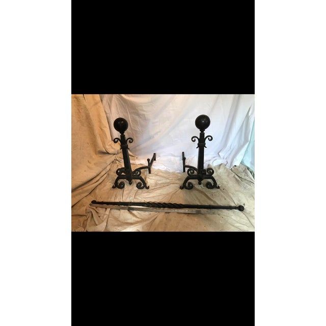 Bradley and Hubbard Wrought Iron Andirons - a Pair For Sale In New York - Image 6 of 10