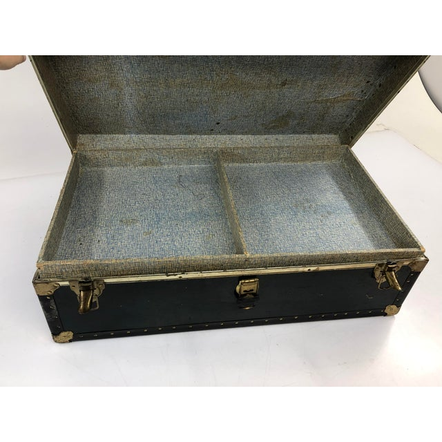 Animal Skin Vintage Vulcanized Black Steamer Trunk With Tray For Sale - Image 7 of 12