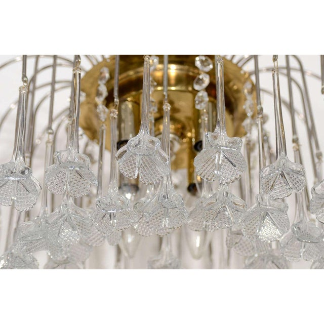 Mid Century Murano Two Tier Handblown Murano Glass Floral Pendant Chandelier - Image 4 of 8