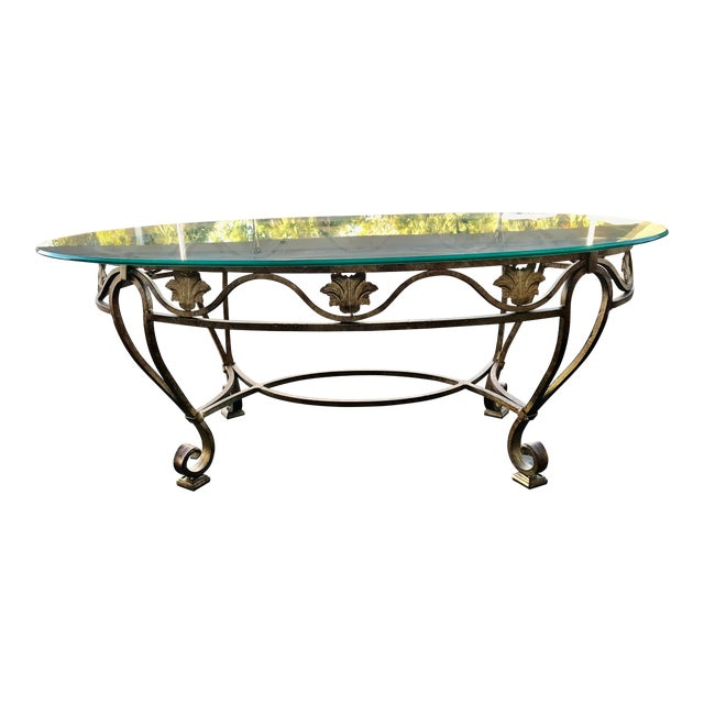 Vintage Oval Metal Glass Top Table For Sale