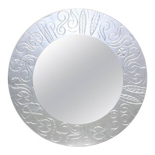 French Art Deco Round Silvered Wood Mirror For Sale