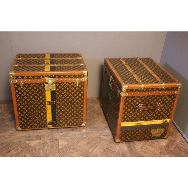 French Pair of Louis Vuitton Monogram Steamer Trunks, Malles Louis Vuitton For Sale - Image 3 of 13