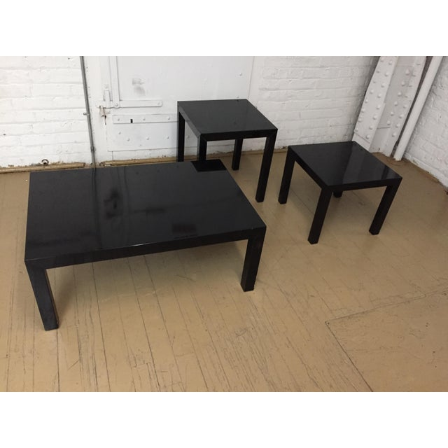 Vintage 1970's Black Lacquer Occasional Tables - Set of 3 For Sale - Image 9 of 12
