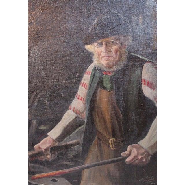 Antique German Blacksmith Painting - Image 3 of 6