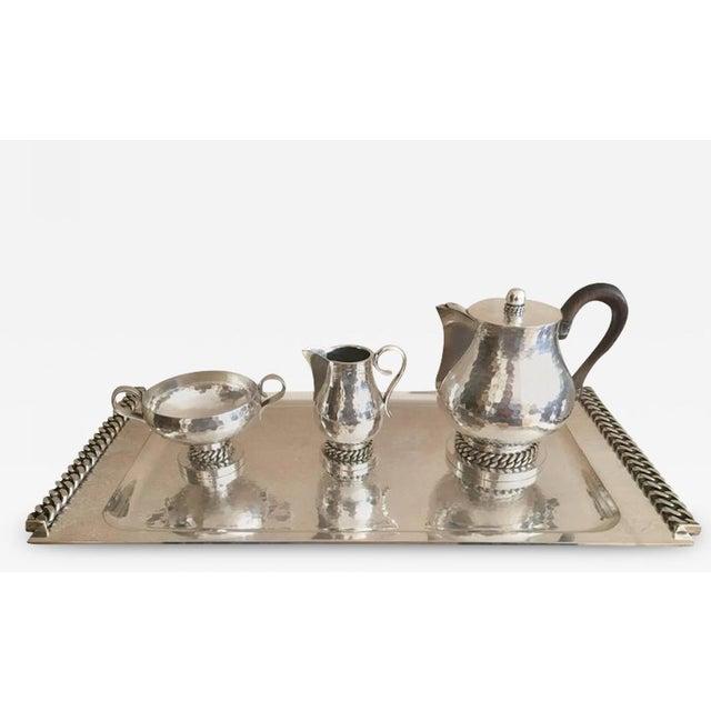 Jean Despres Stamped Superb Big Tea Set in Hammered Silvered Tin For Sale - Image 6 of 6