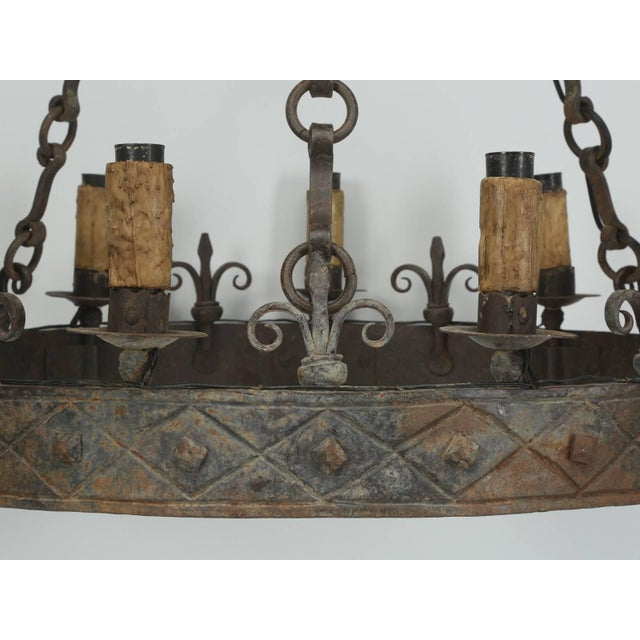 Late 19th Century Antique French Hand-Forged Iron Chandelier, Circa 1900 For Sale - Image 5 of 10