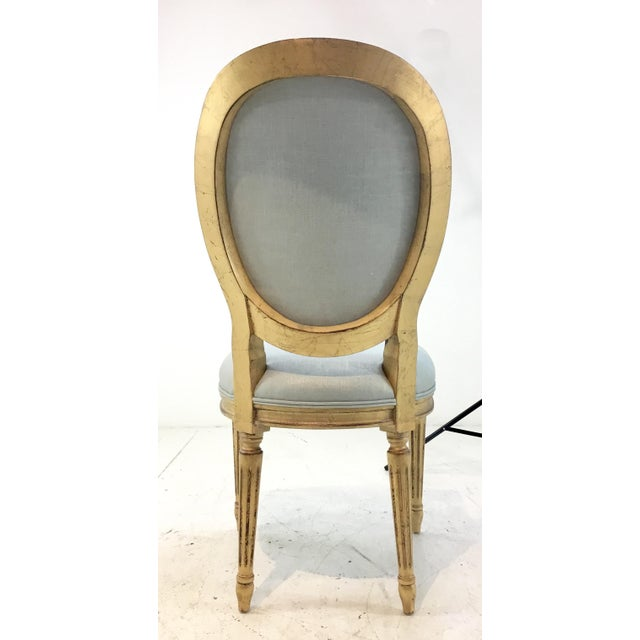 Currey and Co. French Style Palais Blue and Gold Side Chairs Pair For Sale In Atlanta - Image 6 of 7