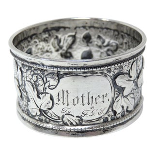 Antique Sterling Silver Mothers Napkin Ring For Sale