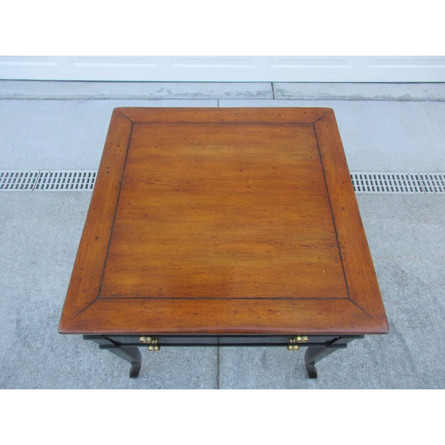 Theodore Alexander Antiqued Black Lacquer Side Table For Sale - Image 9 of 13
