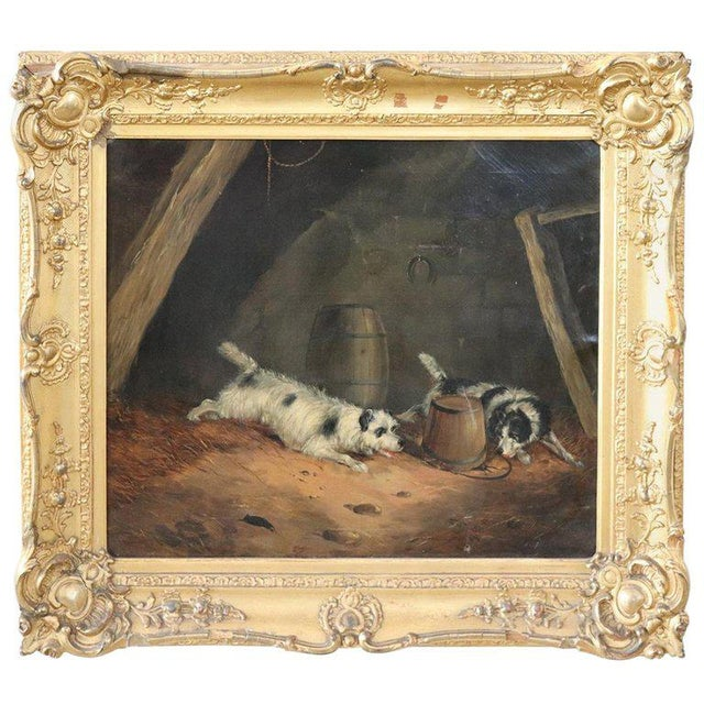 19th Century English Oil Painting on Canvas With Golden Frame by George Armfield For Sale - Image 13 of 13
