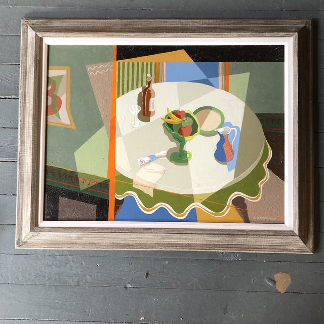 Alfred McNamara (American, 1911-1994) Original Painting Mid Century Modern Interior For Sale In Philadelphia - Image 6 of 6