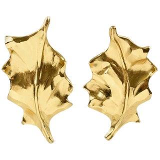 Yves Saint Laurent Ysl Clip on Earrings Gilt Metal Carved Leaf For Sale