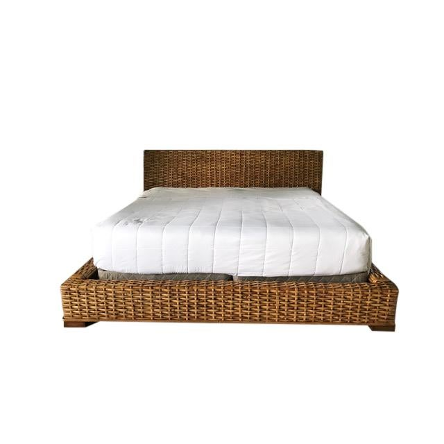 Brown Country Ralph Lauren Woven Rattan King Bedframe For Sale - Image 8 of 8