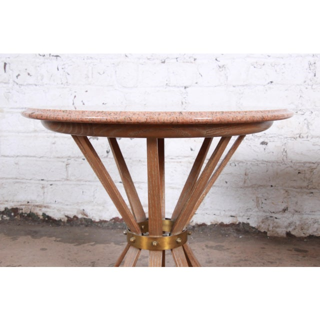 Edward Wormey for Dunbar Style Sheaf of Wheat Marble Top Side Tables, Pair For Sale - Image 11 of 12