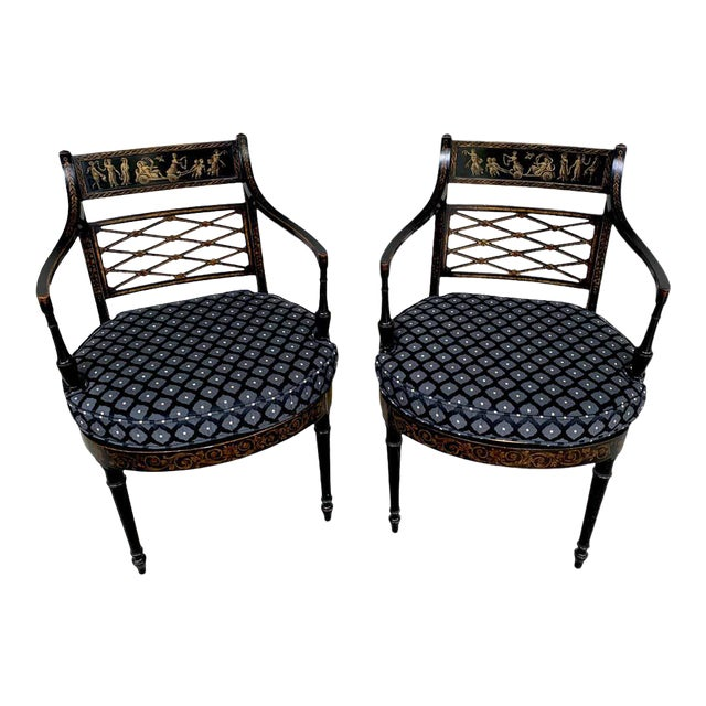 Regency Black and Polychrome Cane Seat Armchairs - a Pair For Sale
