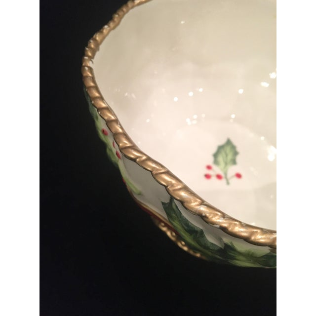 Vintage Late 20th Century Fitz and Floyd Christmas Dish With Holly Berries For Sale In Naples, FL - Image 6 of 10