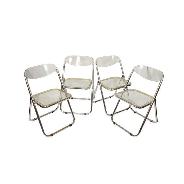 Italian Mid-Century Lucite Folding Chairs - Set of 4 For Sale