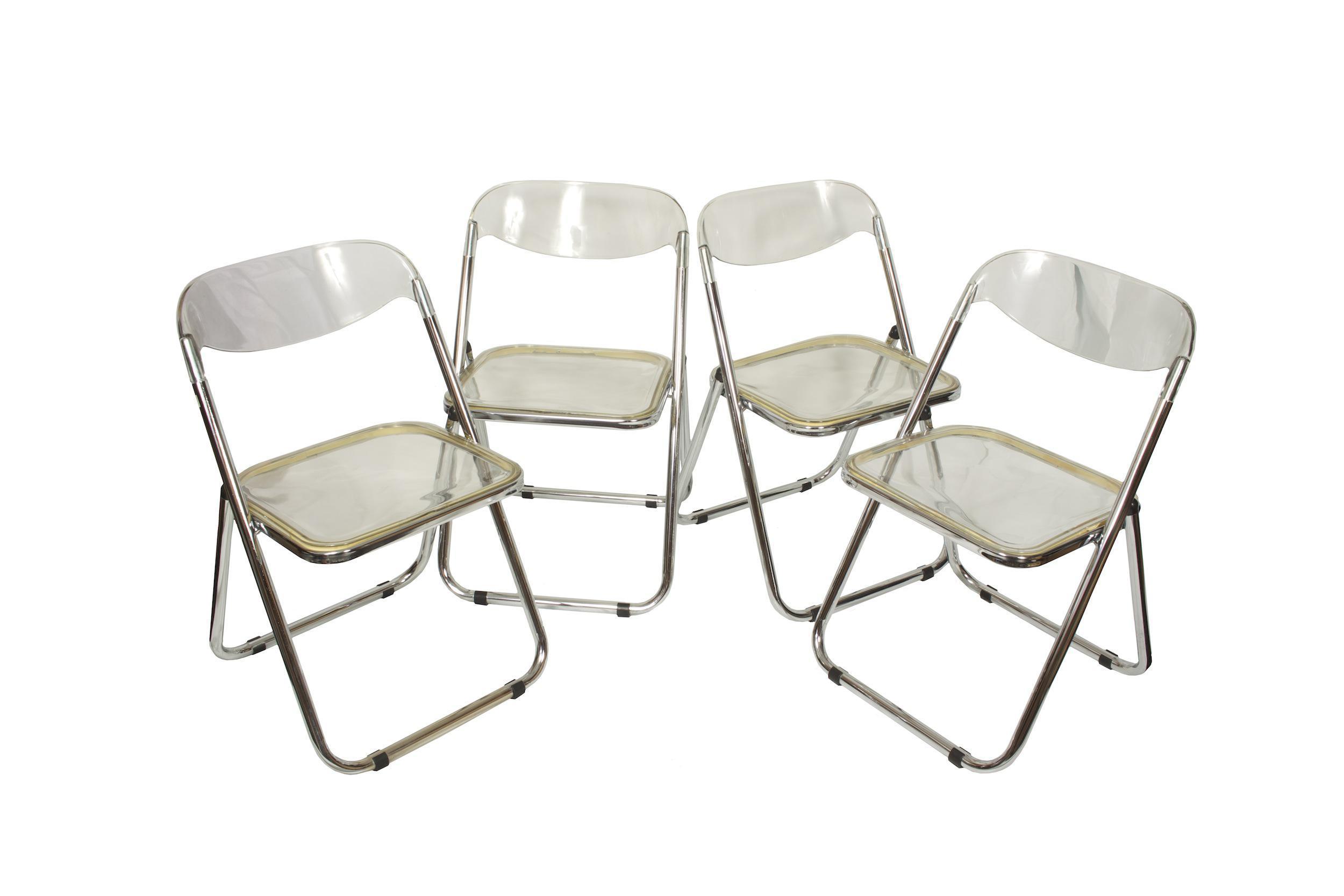 Italian Mid Century Lucite Folding Chairs   Set Of 4