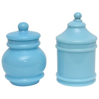 Portieux Opaline Glassware - A Pair For Sale