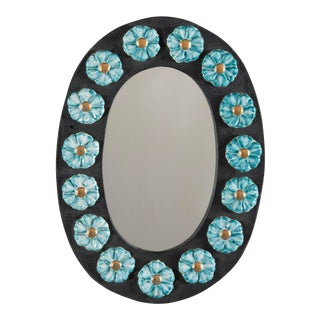 Mid-Century Oval Ceramic Mirror With Flowers For Sale