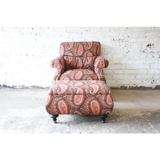 Offering a very nice and elegant Kravet lounge chair and ottoman in paisley upholstery. The chairs is comfortable with...