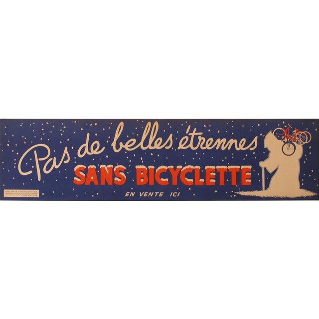 """1930s 1938 Original Advertising Banner, """"Pas De Belles étrennes Sans Bicyclette"""" For Sale - Image 5 of 5"""