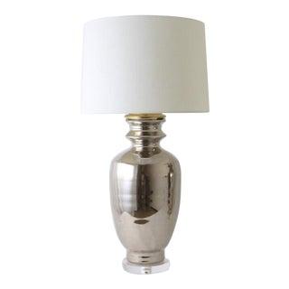 """Paul Schneider Ceramic """"Marathon"""" Lamp in Platinum Lustre Glaze For Sale"""
