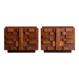 Mid Century Modern Lane Staccato Brutalist Nightstands - a Pair For Sale