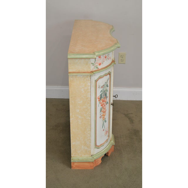 Italian Hand Painted Narrow Serpentine Console Cabinet For Sale - Image 4 of 13