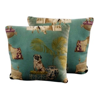 "16"" X 16"" Chinoiserie & Pug Pattern Pillows – - a Pair For Sale"