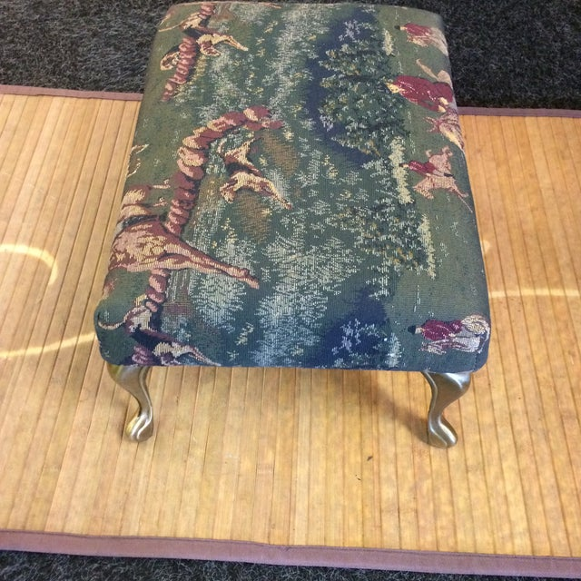 English Traditional Vintage Foot Stool With Metal Legs and English Hunting Scene Equestrian Style Upholstery Fabric For Sale - Image 3 of 9