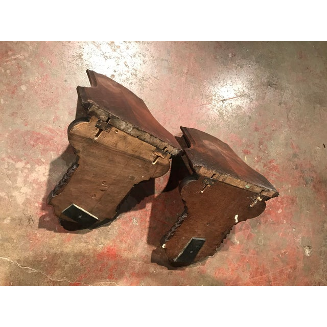 Brown 19th Century French Carved Walnut and Veneer Corbels Wall Brackets - a Pair For Sale - Image 8 of 10