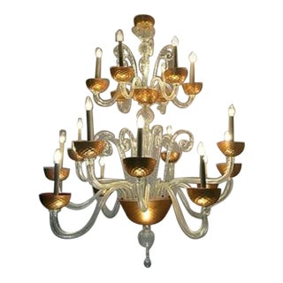 "Large Crystal ""San Pietro"" Chandelier, Murano"