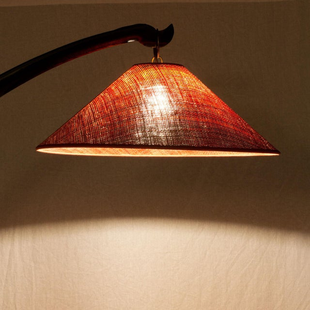 Black 1950s Arched Standing Lamp, Mahogany, Rusty Red Raffia Lampshade, Italy For Sale - Image 8 of 9