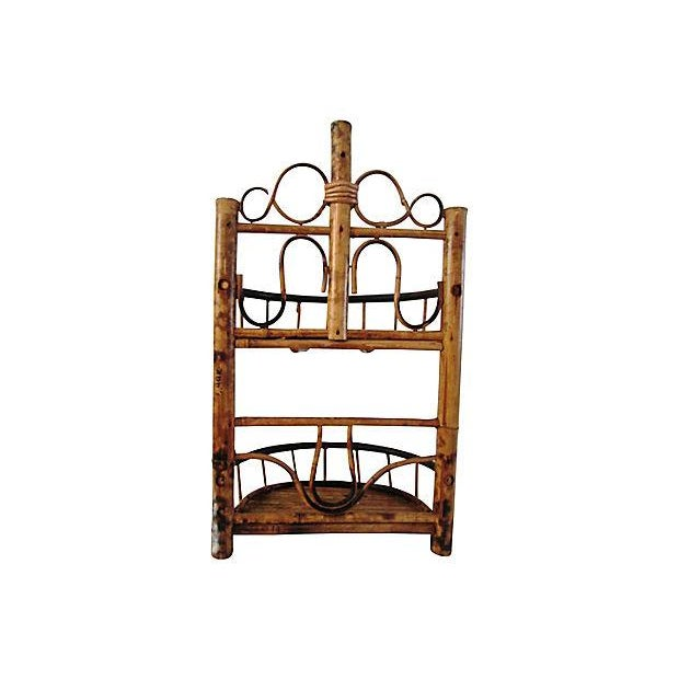 Vintage Bamboo & Rattan Two-Tier Hanging Shelf - Image 6 of 6