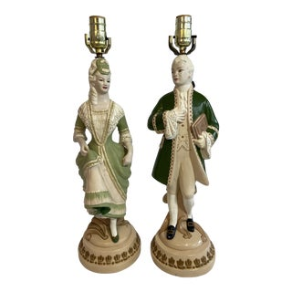 1940s Chalkware Figural Lamps - a Pair For Sale
