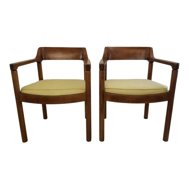 1960s Walnut Zographos Ireland Chairs - a Pair For Sale