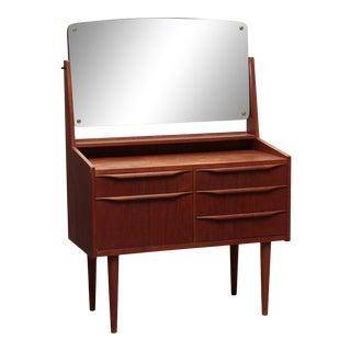 1960s Teak Vanity / Dressing Table Produced in Denmark For Sale