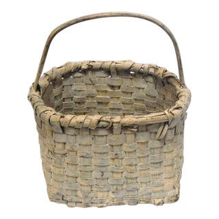 19th Century Original Cream Painted Handmade Basket from New England